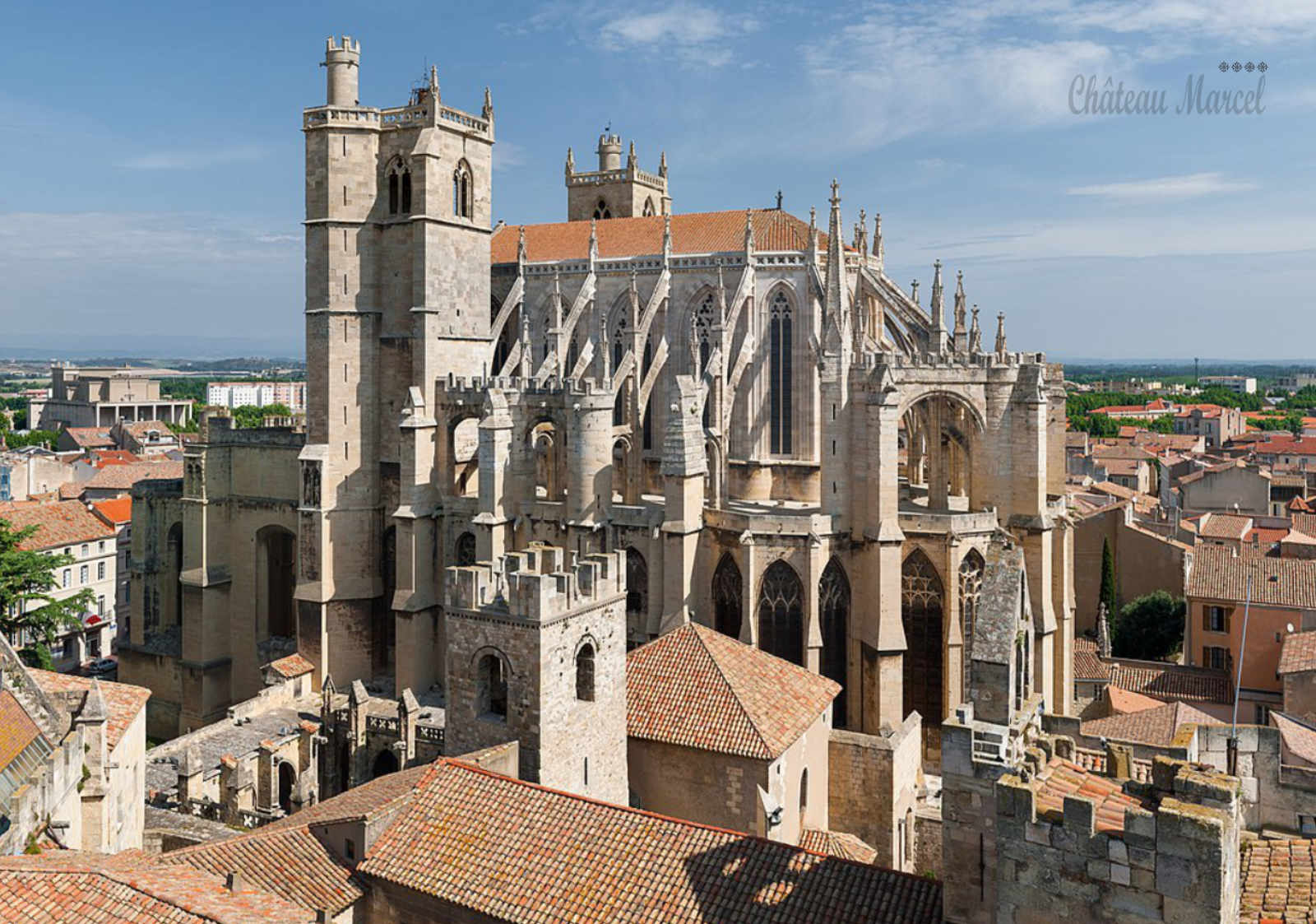 Saint-Just and Saint-Pasteur cathedral, seen from Gilles Aycelin dungeon, in Narbonne, South of France.